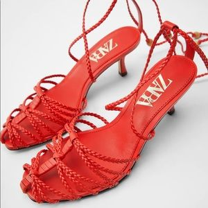 Zara red strappy mid-heel lace up sandals heels